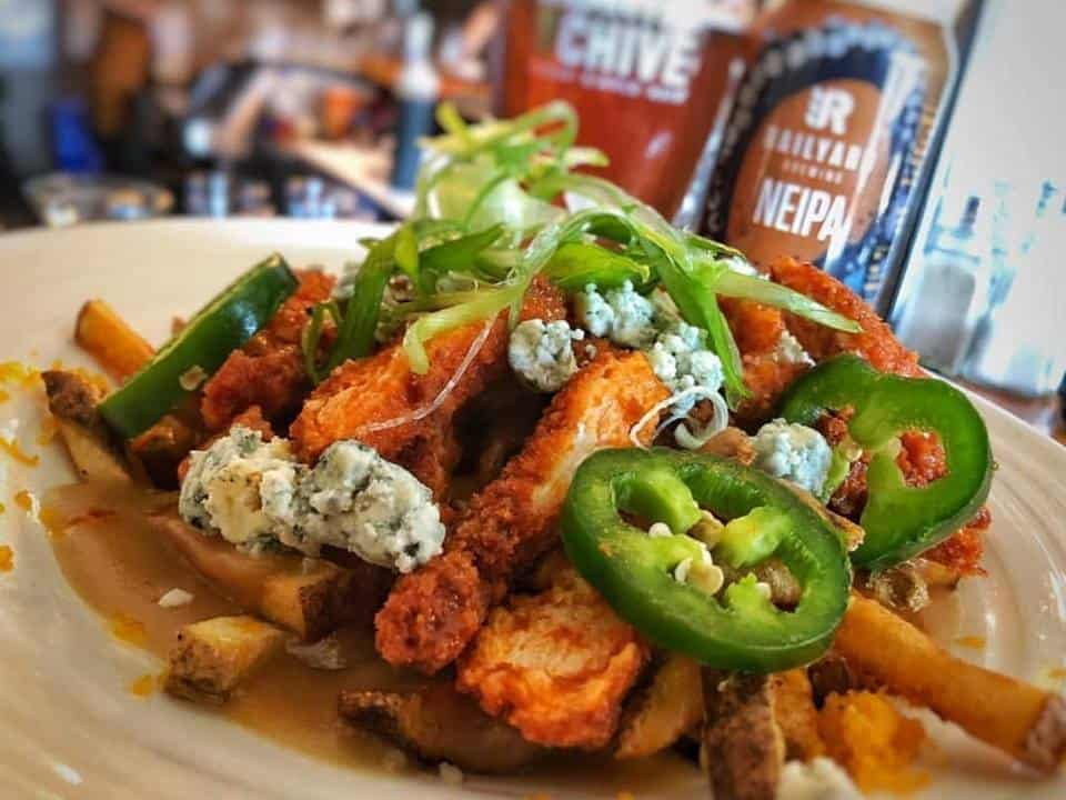 poutine with jalapenos and blue cheese