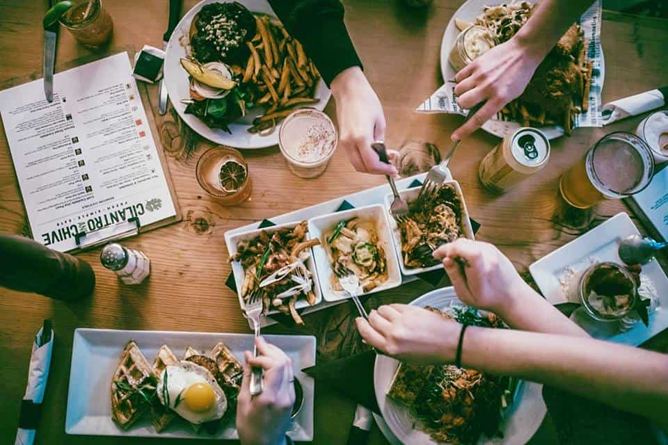 cilantro and chive table