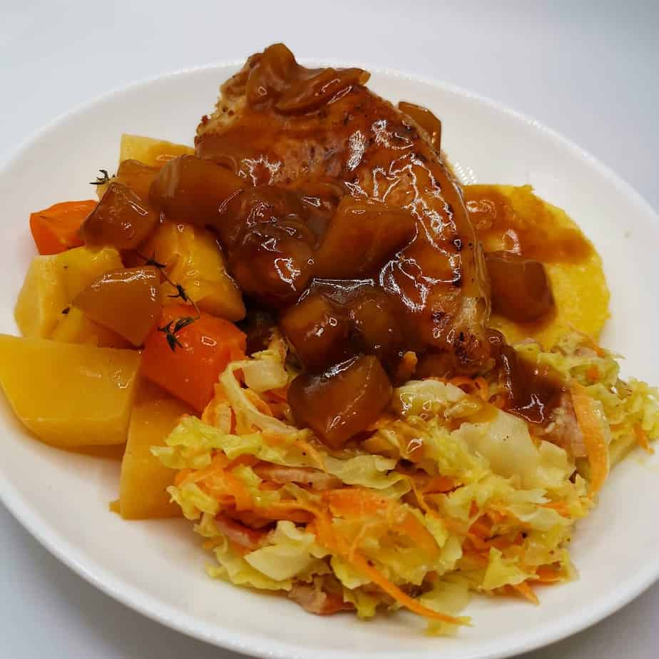 Read more about the article Pork Tenderloin Fillet with Honey Glazed Carrots, Cabbage & Fried Polenta